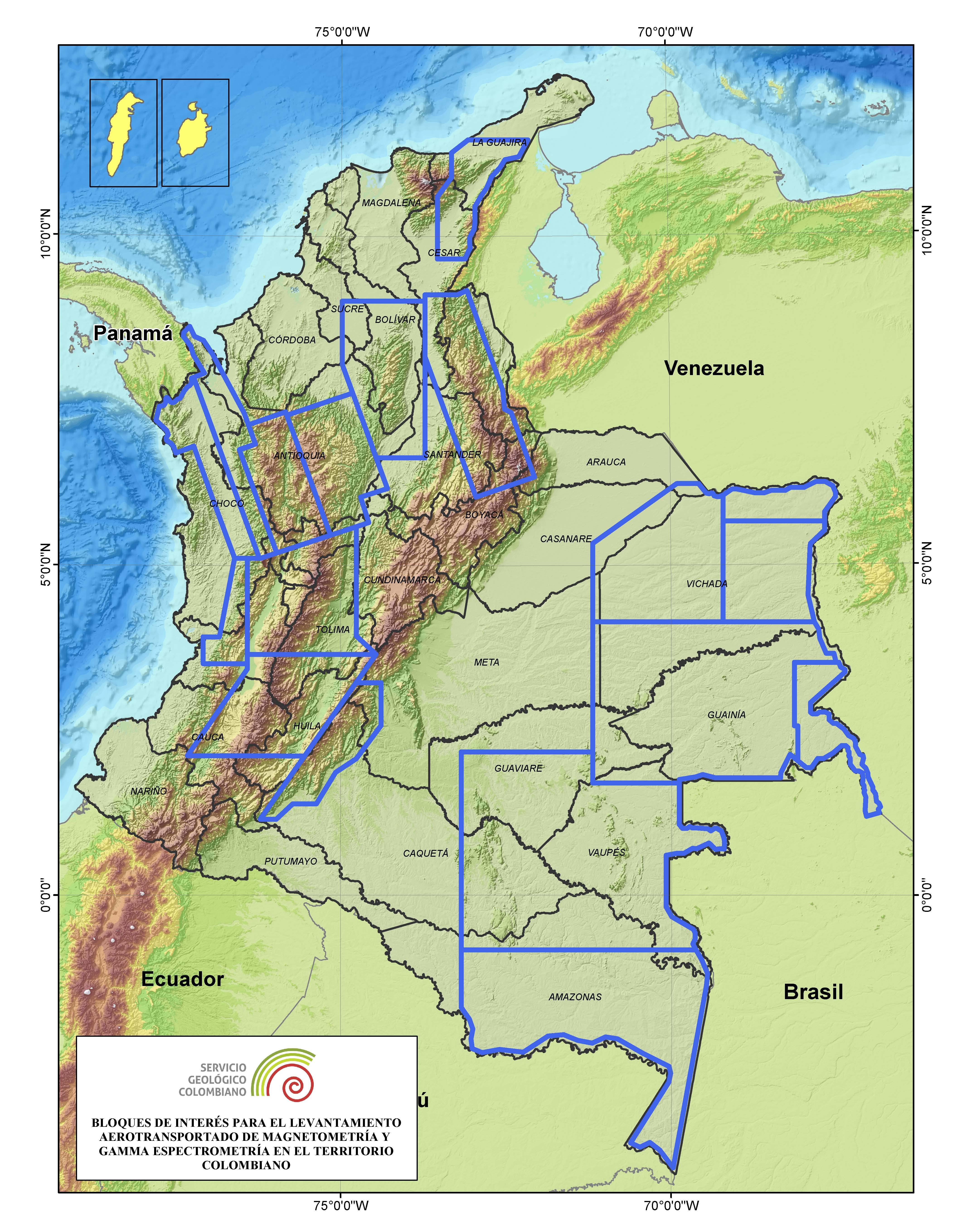 mapa colombia Mapa Geofísico de Colombia mapa colombia